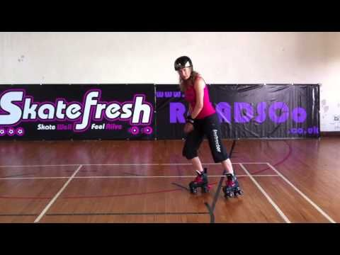 How to do a Lunge Stop tutorial on quad skates for Roller Derby and roller skating. - YouTube