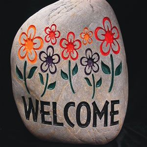 Stone Age Creations Welcome Medium Carved Rock-SB-WE-1012