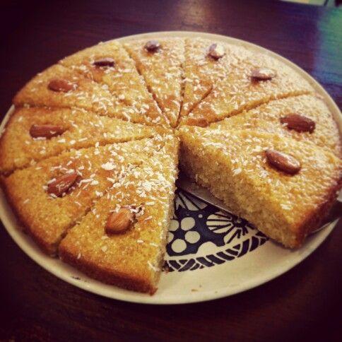 Basbousa. Arabic coconut-almond-semolina-lemon cake