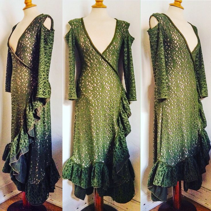 Amazing Winter new statement piece! The wrap around Woods wonderer long ruffled dress in forest green wool elastic mix dress. Unique handmade piece!