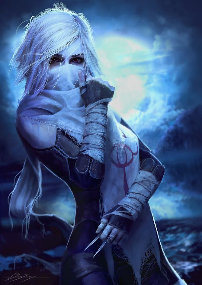 assassin thief character design | concept art fantasy RPG | dungeons and dragons | white hair female woman, ninja