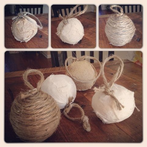 Rustic Christmas Ornaments Handmade With Linen Jute And