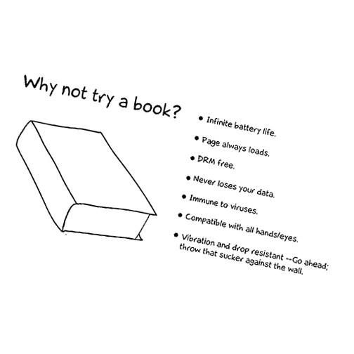 Book vs. E-reader.