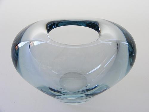 """Holmegaard """"Menuet"""" glass vase designed by Per Lutken"""