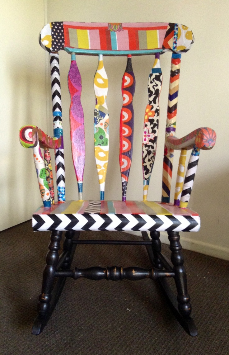 More Than I Could Chew Chair - Three Sisters Facebook Fabric decoupage upcycled rocking chair