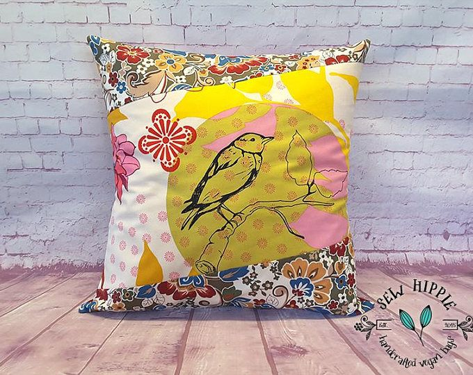Bird Cushion Cover, Throw Pillow Cover, Handmade Cushion Cover, Bedroom Cushion, Cover for Cushion, Decorative Pillow, Bed Pillow