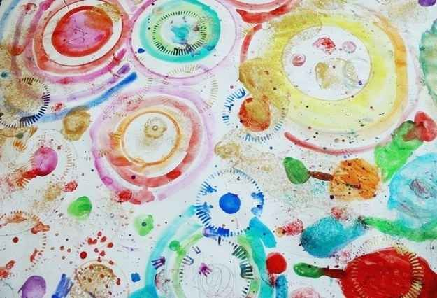 Collaborate on abstract circle art.