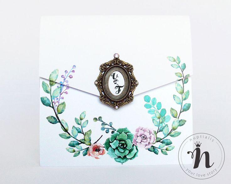 "Invitatii nunta de lux, vintage, cu rama bronz si cristale Rhinestone – ""MADELINA"""