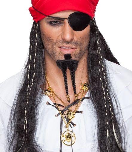 Piraten Kinnbart für wilde Verkleidungen als Seeräuber und Banditen als Sparrow. Geflochtener Zopf mit Abschlüssen. 97% Echthaar - Top Qualität.