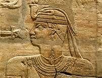 Kushite king Taharqa, taking in the vivifying energies of the Ankh, from his shrine of Karnak, now at the Ashmolean museum, UK. Dynasty 25, Ethiopian rule, Egypt.