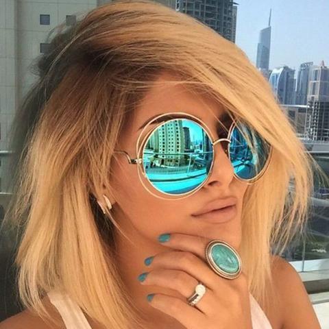 Vintage Round Big Oversized lens Mirror Brand Designer Pink Sunglasses Lady Cool Retro UV400 Women Sun Glasses Female