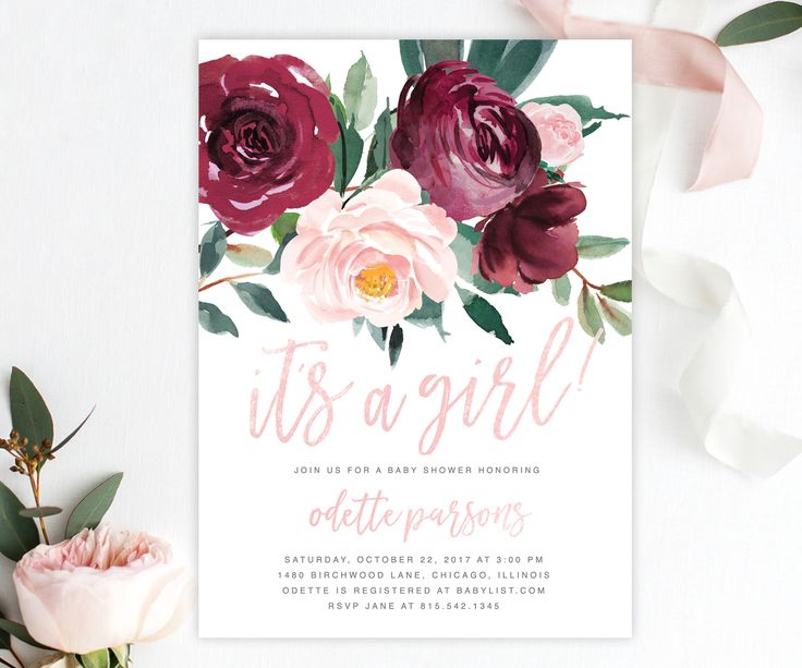 The Odette It's a Girl Baby Shower invitation featuring gorgeous fall florals with a burgundy and blush pink rose and greenery arrangement and blush pink brush calligraphy lettering.