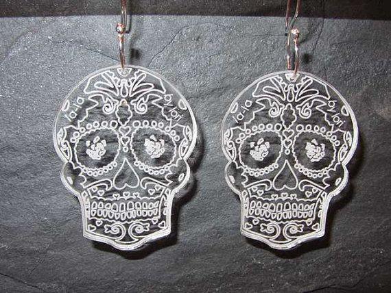 Sugar Skull perspex earrings with handmade by lalajewellerybylori, $19.00