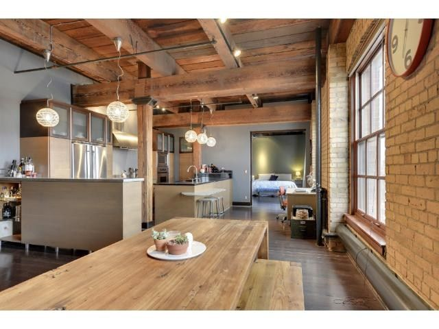 Best Loft Living Images On Pinterest Homes For Sales - Contemporary soho loft with exposed brick and wood beams