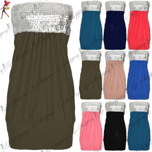 Womens-Sequin-Silver-Bandeau-Boobtube-Strapless-Neckline-Puffball-Mini-Dress-Top