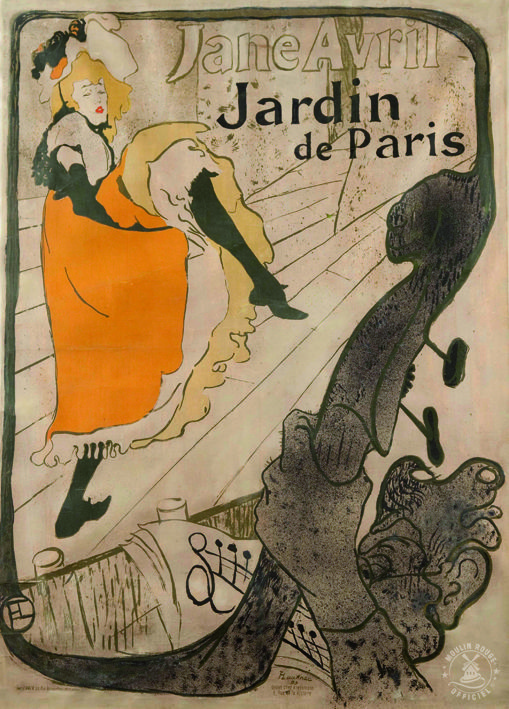 Affiche du moulin rouge jane avril par toulouse lautrec for Jardin de paris jane avril