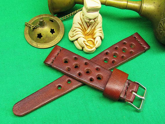 Handmade Rally Omega Watch Strap brown leather, 18mm, 20mm, 22mm, 24mm, Unisex Brown watch strap, Watch Strap, Leather watch strap Brown Itallian Leather  100% handmade watch strap. Rally Strap was designed for the racing enthusiast. Handsome looking on a Omega, Breitling, Rolex, Panerai, Chopard , Audemars, Seiko, or whatever watch you have. This is our new style strap and because I got too many request from my customers that looking for the rally strap / racing strap.The strap with th...