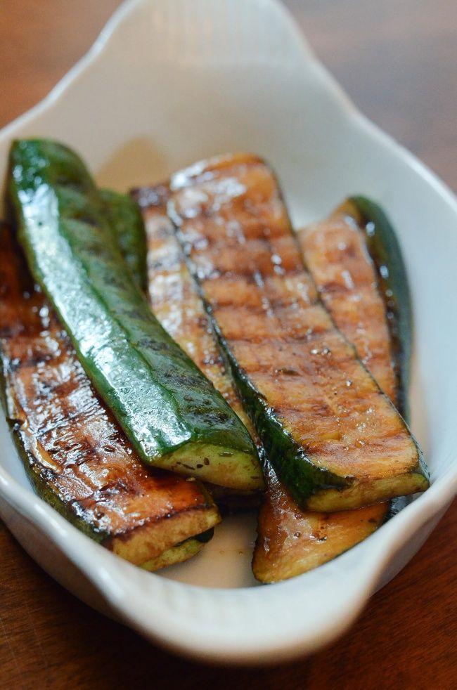 Balsamic Grilled Zucchini ~ http://www.fromvalerieskitchen.com