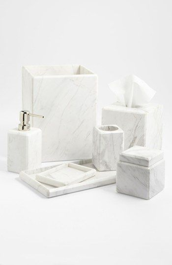 Waterworks studio 39 luna 39 white marble covered jar online for Marble toilet accessories