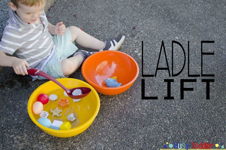 Ladle Lift: Inside or outside, this is a winning toddler activity and it can be set up a million different ways. Take two bowls or buckets or baskets. Fill one with water and toys, leave the other one empty. Ask your toddler to transfer the toys from one bowl to the other. Sounds simple? Not exactly that easy for a toddler with budding fine motor skills, dexterity, and hand-eye coordination.
