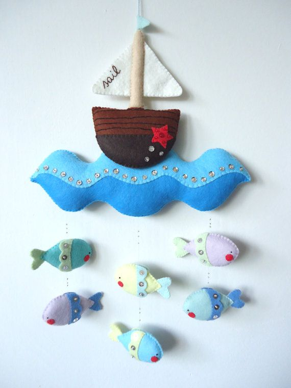 PDF pattern - Nautical mobile. Felt mobile with boat, sea and fishes. Easy sewing pattern, DIY baby crib mobile