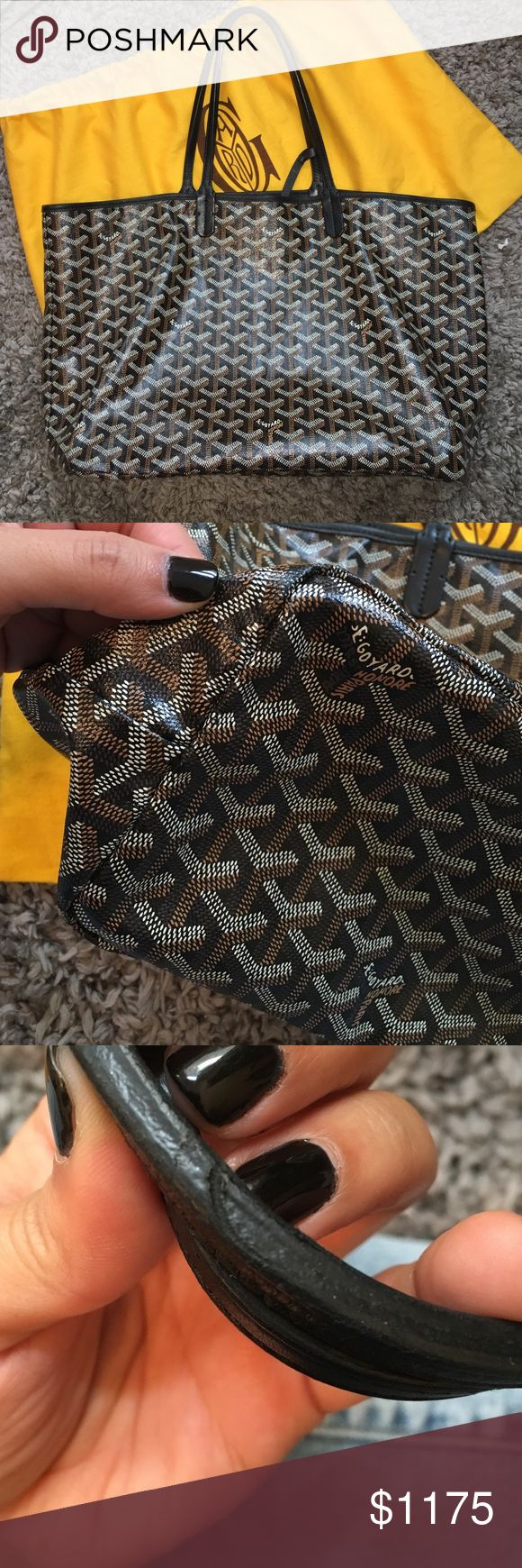 Goyard Saint Louis PM - Black/Black So sad to part ways. My favorite bag. Moving in 6 days and need to sell. More pics avail and receipt etc. 8.5/10. Almost no signs of wear. I will include the wallet that comes w bag. Price is firm as posh takes 20%. Goyard Bags Totes