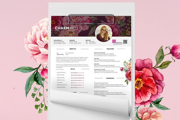 Sweet Resume Template by CharmBello on @creativemarket