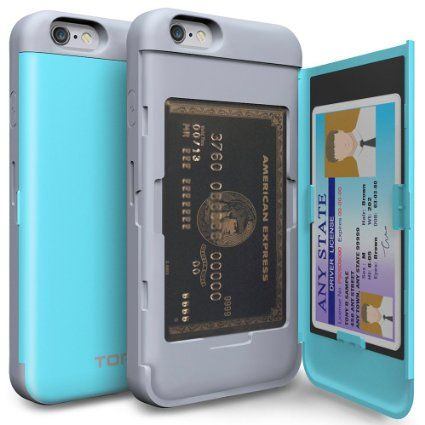 Amazon.com: iPhone 6S Case, TORU [CX PRO] iPhone 6 Wallet Case - [CARD SLOT][ID HOLDER][KICKSTAND] Protective Hidden Wallet Case with Mirror for iPhone 6/6S - Cyan: Cell Phones & Accessories