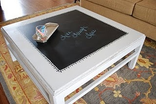 DIY chalkboard coffee table for a play room one day... kinda makes my heart smile :)