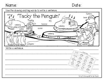 """""""Tacky the Penguin"""" Writing Paper and Rubric"""