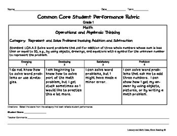 Common Core Math Rubrics: Grade 1 | Math, Common core math ...