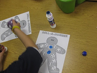 """Math center or """"when I'm done"""" activity in December-Gingerbread Man """"Roll a Number"""""""