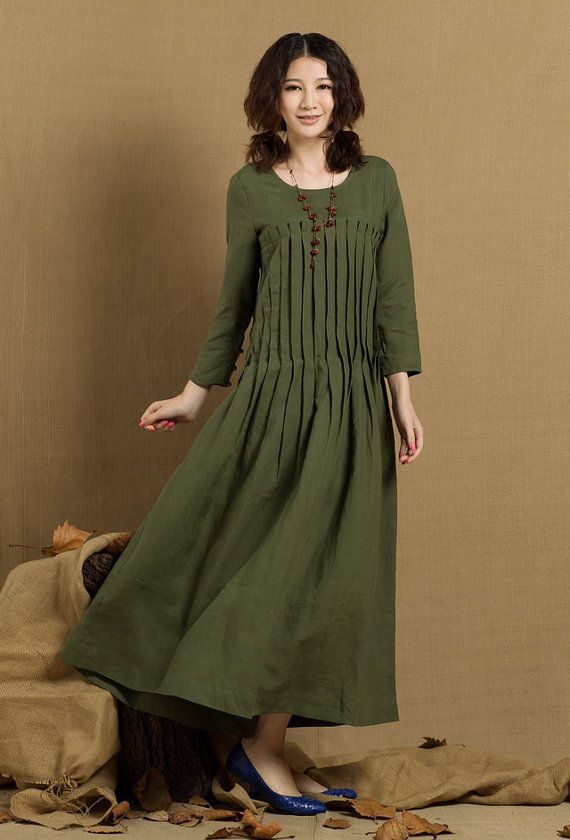 Pleated Linen Dress in green / Long linen winter dress / maxi shirt dress - custom