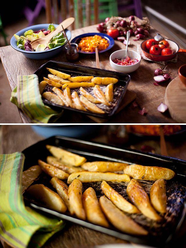 Acompanhamentos para as carnes: cenouras e batatas