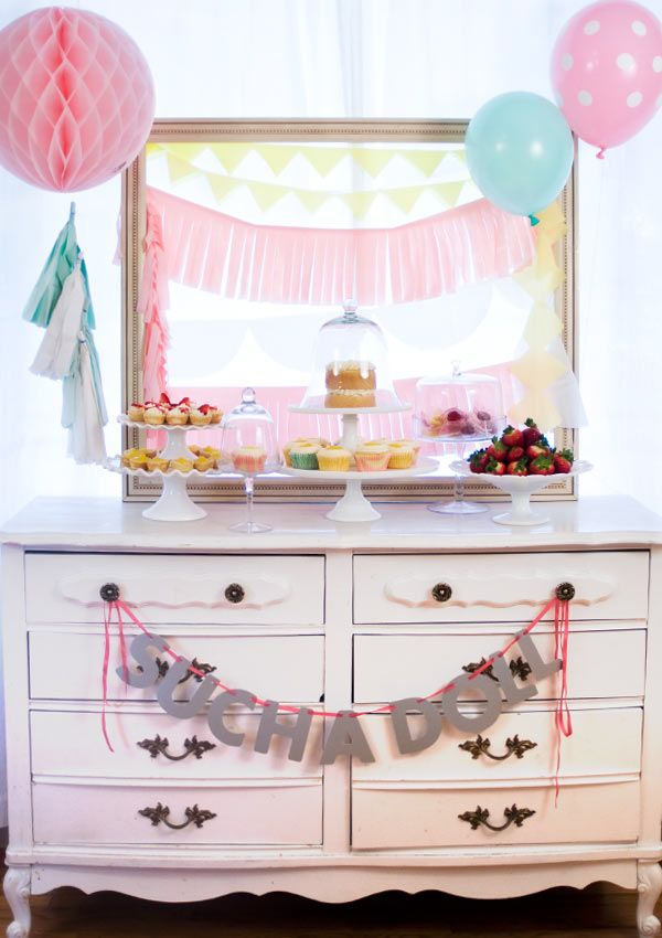 Such A Doll : Dessert Buffet. Such an adorable first birthday party!