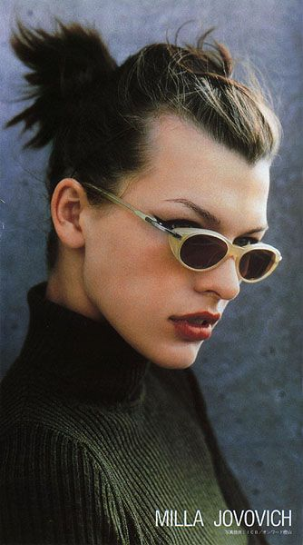 Milla Jovovich. Those are really small 90s eyewear...