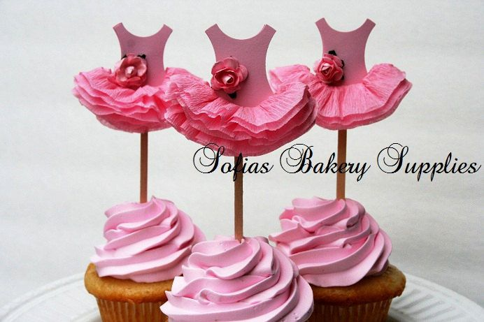 6pc set Rose Ballerina cupcake toppers ballet by sofiabakerysupply, $14.00
