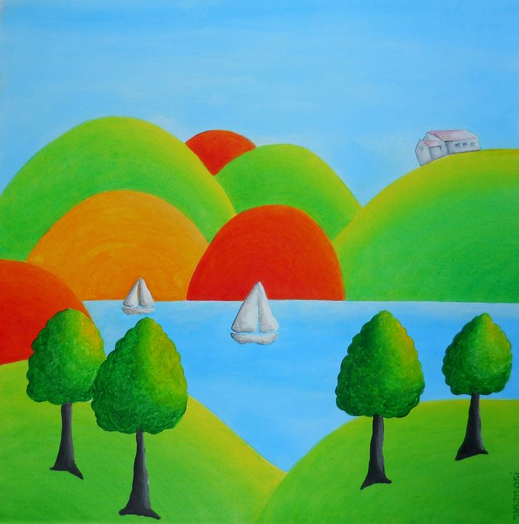 Fabulous country, acrylic on canvas, 50x50 cm, 2015,  from artist Peter Vamosi.