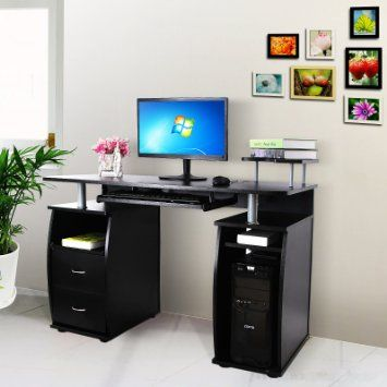 Songmics bureau informatique table informatique meuble for Meuble d angle bureau noir