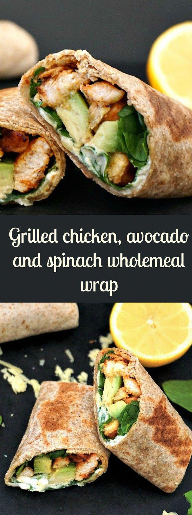 Grilled chicken, avocado and spinach wholemeal wrap #HealthyRecipesclean
