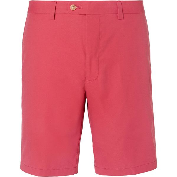 Dunhill Links Twill Golf Shorts (2,710 MXN) ❤ liked on Polyvore featuring men's fashion, men's clothing, men's shorts, mens twill shorts, mens red shorts and mens golf shorts