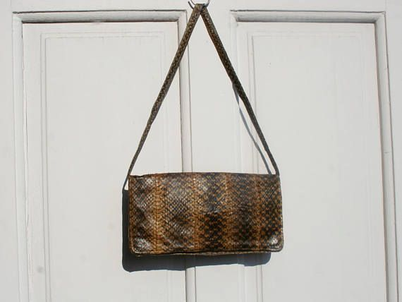 Leather bag leather purse vintage leather bag snake skin