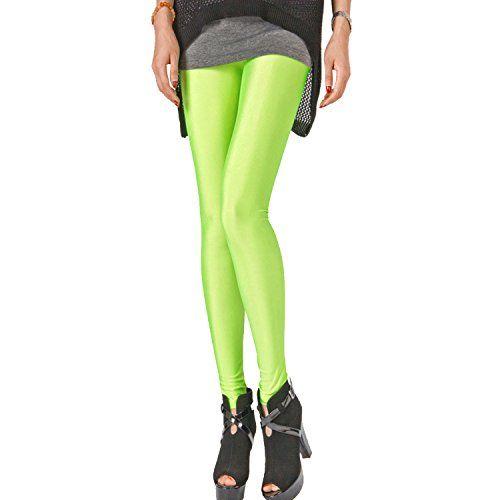 DAS Leben Women Seamless Tights Colored Girls Skinny Leggings As Pants (Fluorescein)