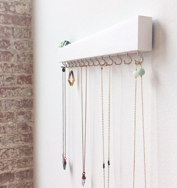 Jewelry Organizer Wall White Wall Decor Necklace Holder Earring Holder Wood Necklace Ha Jewelry Organizer Wall Necklace Holder Wall Jewelry Wall Hanger