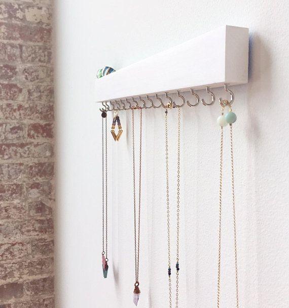 Jewelry Organizer Wall White Decor Necklace Holder