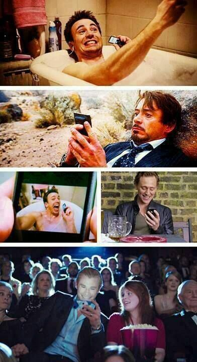 """""""When Evans abuses the group text..."""" lol Found on Robert Downey Jr's Facebook page. ^_^"""