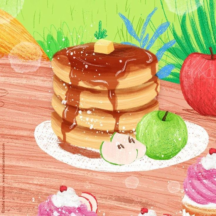pancakes - children's illustration by Sofia Cardoso #illustration #kidlitart #foodillustration