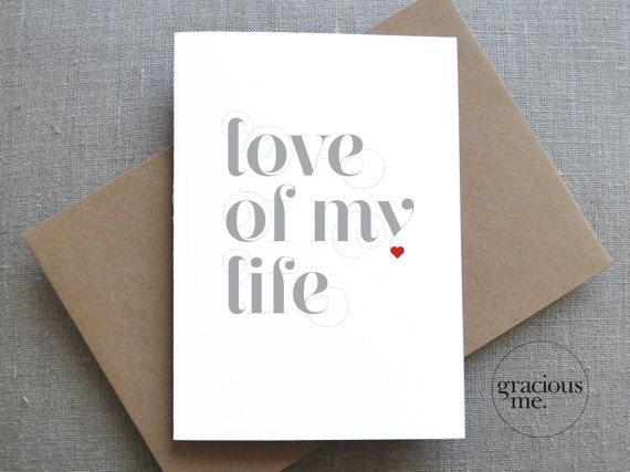 """simple but straight from the heart, Valentine's Day card """"lover of my life"""" Valentine Card Valentine's Day Card Love Card by GraciousMeShop"""