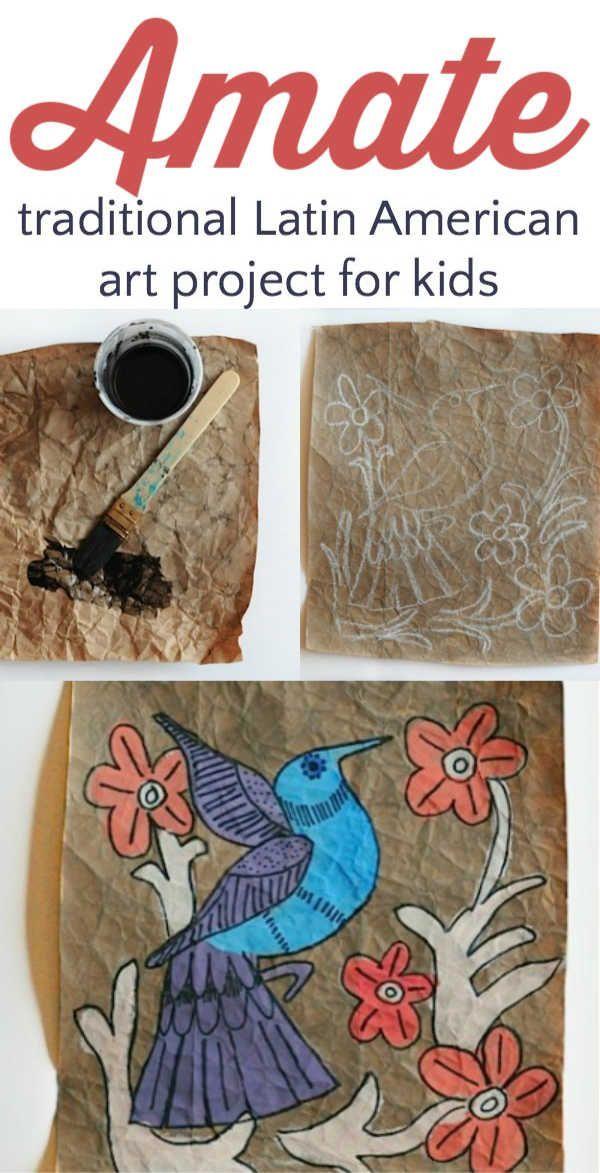Amate Malkunstprojekt für Kinder. Dieses traditionelle lateinamerikanische Gemäld …