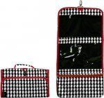 """Women's Hanging Travel Cosmetic Bag, Black and White Houndstooth with Red Trim. by Treasures & Treasures. $14.99. Large zippered make up bag at bottom. 11"""" by 24"""" open. 1 large mess zippered compartment. 2 clear zippered compartments. Adorable Black and White Houndstooth with Red trim Hanging Travel Cosmetic Bag. Has a large top mess compartment, a large divided clear compartment and a large makeup bag at the bottom. Provides ample space for your cosmetics and ..."""